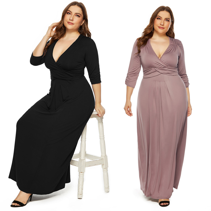 2020 Fashion Elegant Summer Party Long Dress Sexy Deep V-neck High Elasticity Cross High Weist Plus Size Dresses for Women 3xl image
