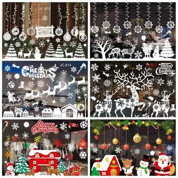 Merry Christmas Decorations Window Stickers Santa Elk Wall Sticker For Christmas Home Window Display Decor Happy New Year 2021 2020 merry christmas wall stickers window glass festival wall decals santa murals new year christmas decorations for home decor