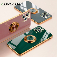 Plating Siliconen Telefoon Case Voor Iphone 11 12 Pro Max 12 Mini Xs Max X Xr 8 7 Plus Effen kleur Metalen Ring Houder Soft Phone Cover cheap LOVECOM APPLE Cn (Oorsprong) Bumper Candy Color Soft Silicone Phone Case Vlakte High Quality Soft Silicone Full Body Coverage Shockproof Protection