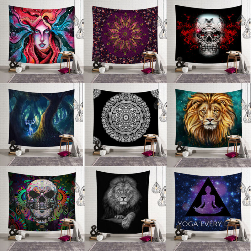 95x73cm Hot Tapestry Wall Hanging Polyester Indian Mandala Pattern Blanket Home Decoration Yoga Multifunction Mat Small
