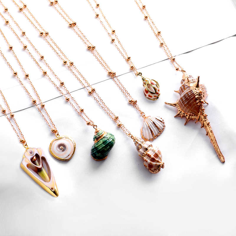 Exknl 2019 Boho Conch Shell Necklace Conch long Pendant Sea shell Necklace For Women Collier Femme Shell Cowrie Summer Jewelry
