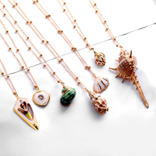 Exknl 2019 Boho Conch Shell Necklace long Pendant Sea shell For Women Collier Femme Cowrie Summer Jewelry