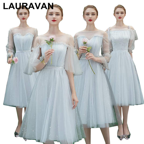 Teens Puffy Lace Up Back Grey Modest Elegant Tea Bridesmaid Cheap Formal Short Dresses Girl's Dress Ball Gown For Weddings