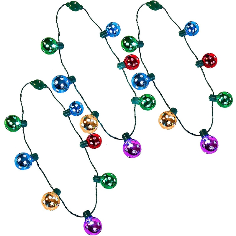 Big deal 3 Pack Christmas Bell LED Disco Necklace Luminous Holiday Accessories Party Love 7 LED Disco Lights
