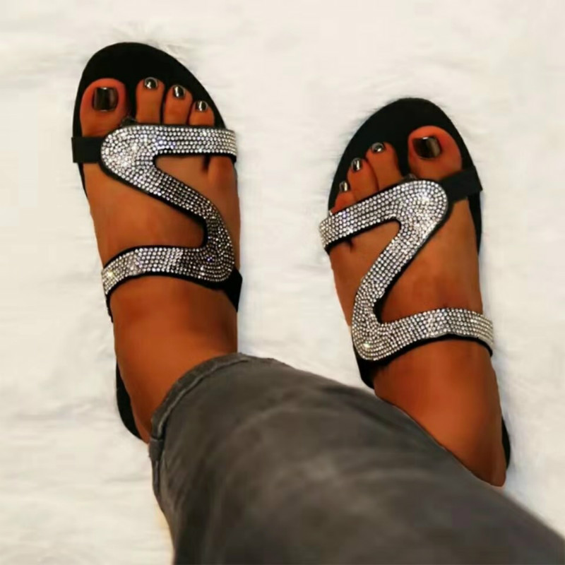 Women Summer Flat Slippers Rhinestone Shoes Open Toe Roman Beach Sandals Ladies Sexy Flip Flops Platform Black Non-slip Slides