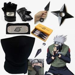 New Naruto Hatake Kakashi Konoha Headband Mask Cosplay Accessories Ninja Weapon Armor Throw Darts Kunai Hokage Gloves Props
