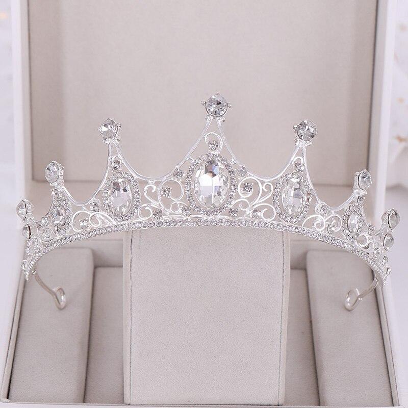Новые свадебные аксессуары для волос в стиле барокко Стразы Хрустальная корона Свадебная Корона головной убор свадебная корона аксессуары...