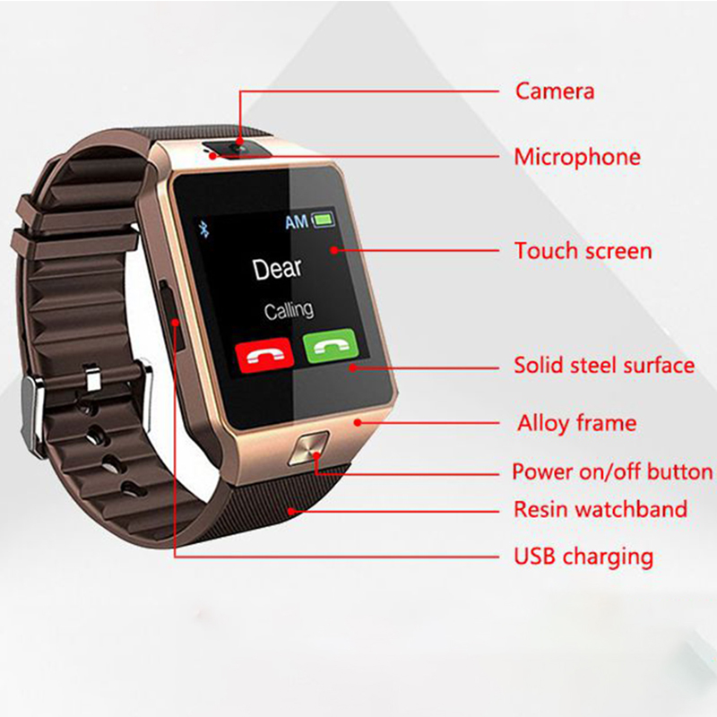 Smart Watch DZ09 Smart Clock Support SIM TF Camera Men Women Sport Bluetooth Wristwatch for Samsung Huawei Xiaomi Android Phone