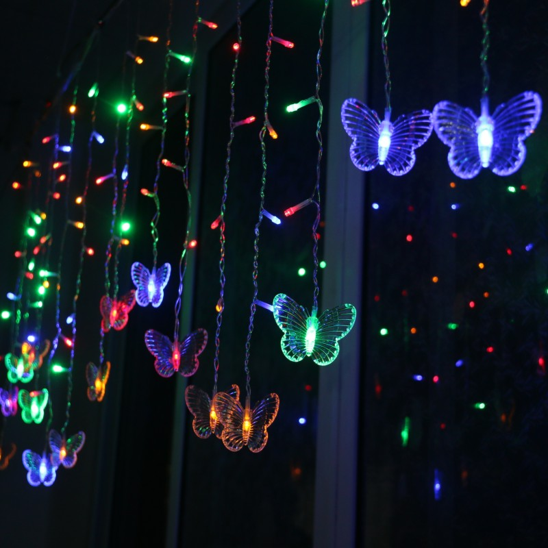Newly LED Butterfly Curtain Light Ices Strip Butterfly Pendant Light String Indoor Outdoor Decoration MK