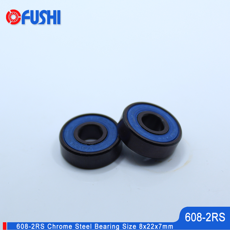 Skateboard 608-Black Bearing 8x22x7 mm 10PCS Miniature PA66 Cage Wheel V Surface 608 RS Ball Bearings 608 2RS image