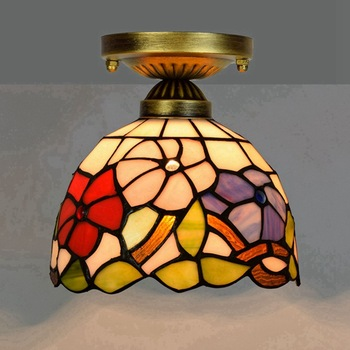 European-Style 8-Inch 20cm Tiffany Colored Glass Corridor Balcony Ceiling Light Red Festive Morning Glory morning light