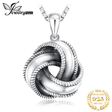 JewelryPalace Vintage Oxidized 925 Sterling Silver Textured Love Knot Pendant Necklace Without Chain Fashion Gift