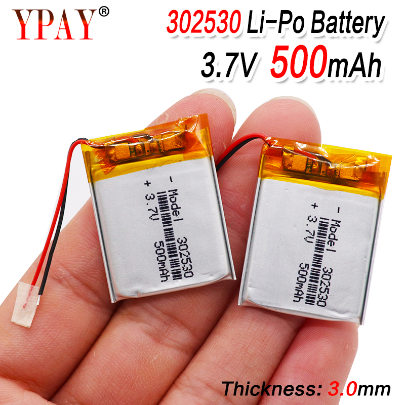1/2/4pcs battery Size 302530 3.7V 500mah Lithium polymer Battery with Protection Board For MP4 Digital Products(China)