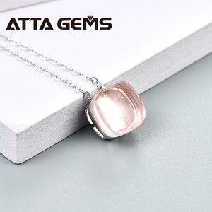 Image 4 - Naturalne Rose Quartz Sterling srebrne wisiorki 6.8 karaty naturalne Rose kwarty kryształ romantyczny styl dla pań prezenty w nowym stylu