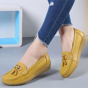 Women Flats Genuine Leather Shoes Woman Low Heels Oxford Nurse Moccasins Ballet Loafers Slip on Flat Shoes Female Espadrilles