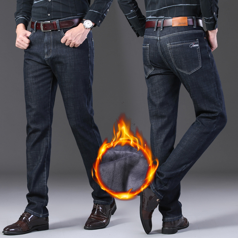 Image 5 - 2019 Mens Autumn Winter New Warm Fleece Lined Jeans Stretch  Casual Straight Thick Denim Flannel Jeans Soft Pant TrousersJeans   -
