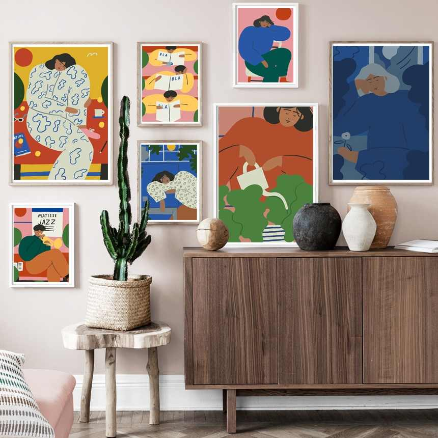 Abstract Figure Matisse Wall Art Canvas Painting Nordic Canvas Posters And Prints Vintage Wall Pictures For Living Room Decor