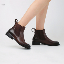 Plus Size 34-44 Genuine Leather Women Shoes New Woman Boots 2019 Autumn Ankle Boots Fashion Office Elastic Martin Boots Zapatos недорого