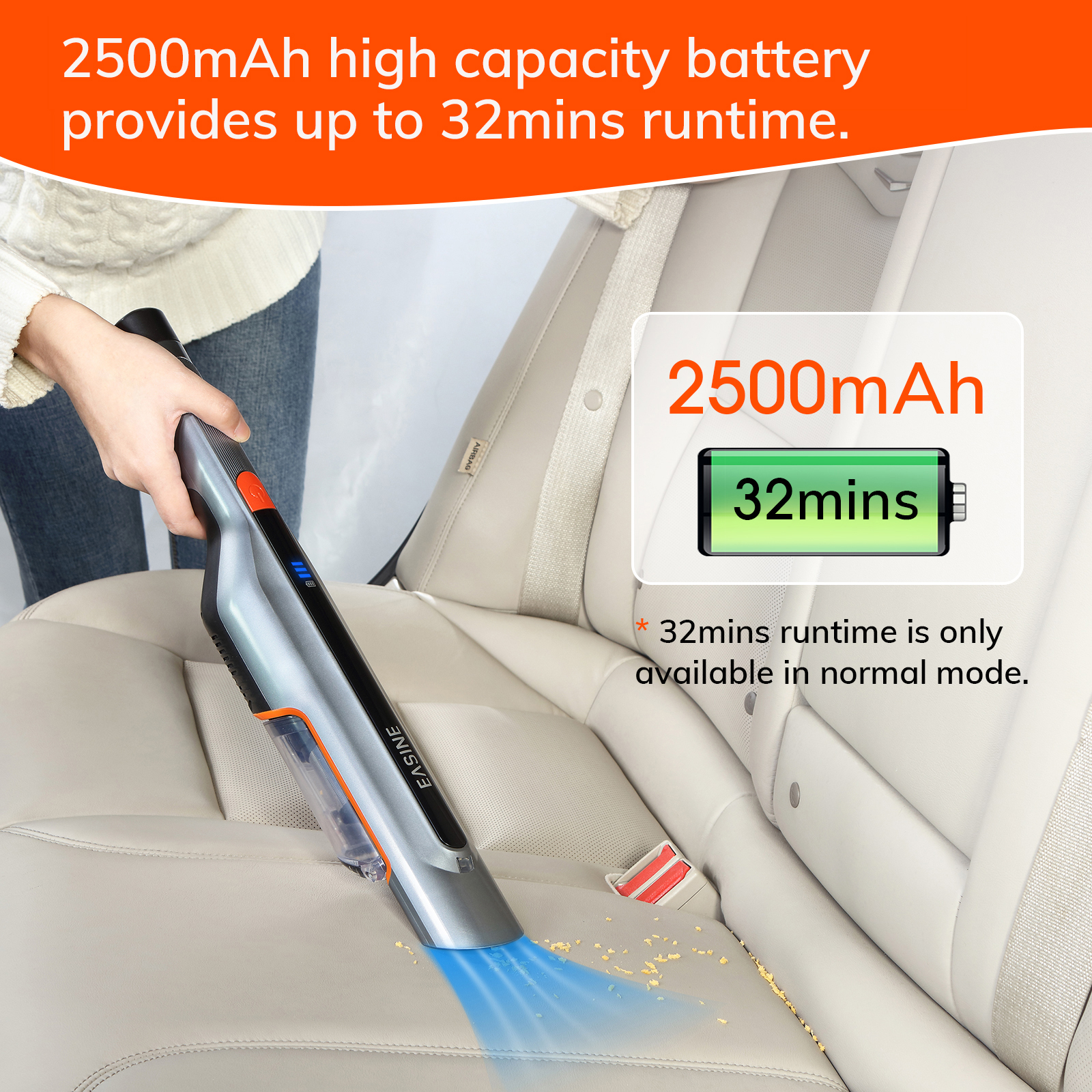 EASINE by ILIFE M50 Handheld Car Vacuum Cleaner – 14,500Pa Powerful Suction,  Type-C & USB Charging, 2 Hours Fast Charge 5
