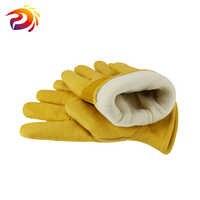Winter Arbeit Handschuhe Rindsleder Leder Thermische Motorrad Handschuh Kalten Wetter Baumwolle Futter gefrierschrank Arbeits Handschuh
