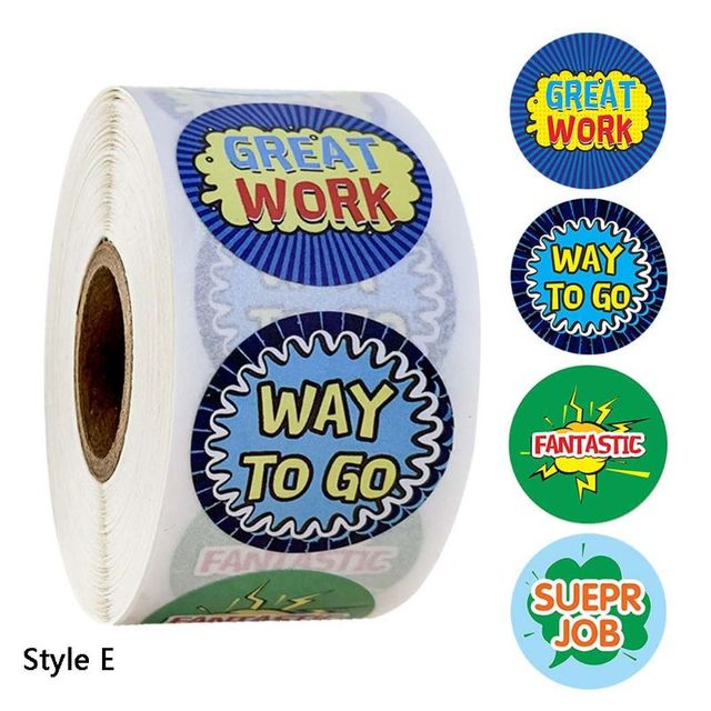 500pcs/roll Giocattoli Adesivi Diario Scrapbooking Insegnante di Incentivazione Adesivo Ricompensa E15B