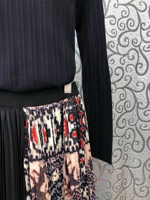 Top Grade Designer vêtements ensembles 2019 automne pull costume femmes à manches longues noir pulls + Vintage imprimé Midi jupe plissée ensemble