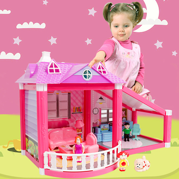 Baby Handmade Family Dollhouse Pretend Play Princess Castle DIY Assemble Villa Doll House With Miniature Furnitures Toys Gifts let s pretend sticker activity my princess castle
