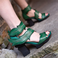 Artmu Original Fashion 8.5 cm Super High Heels Sandals Women Chunky Heel National Ladies Genuine Leather Gladiator Sandals Shoes