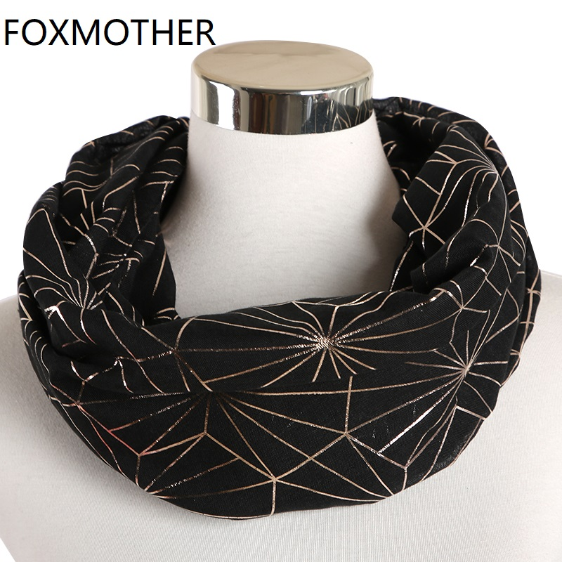 FOXMOTHER New Purple Coffee Foil Gold Web Plaid Hijab Scarf Glitter Shawl Ring Loop Scarves  Accesorios Mujer Foulard Femme