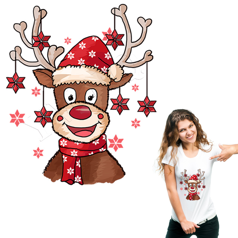Christmas Thermal Patches Cute Christmas Deer DIY Heat Transfer Washable Thermal Stickers On Clothes Jean Badges Clothing