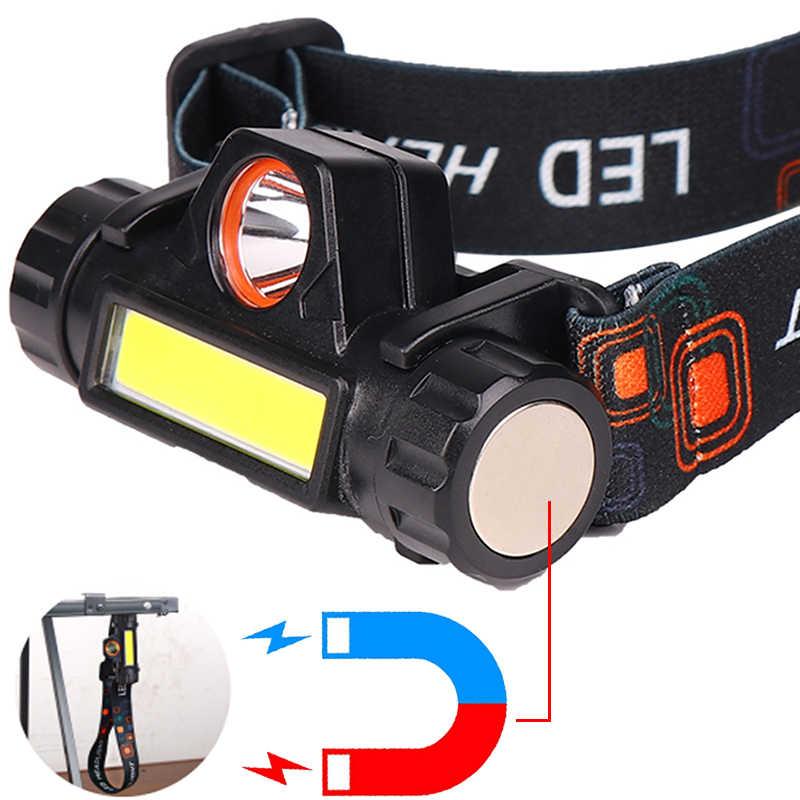 Xpe + cob portátil mini farol led embutido usb recarregável 18650 bateria com ímã tocha acampamento caminhadas noite pesca luz