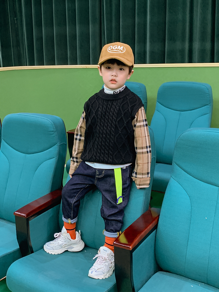 Boys' Knitted Sweater Pullover Autumn and Winter 2021 New Style Fashion Korean Style Autumn Top Children's Clothing 2
