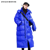 ZURICHOUSE 2019 Winter Coat Woman Long Quilted Jacket Hooded Parka Warm Outwear Plus Size Loose Glossy Winter Down Jacket Women