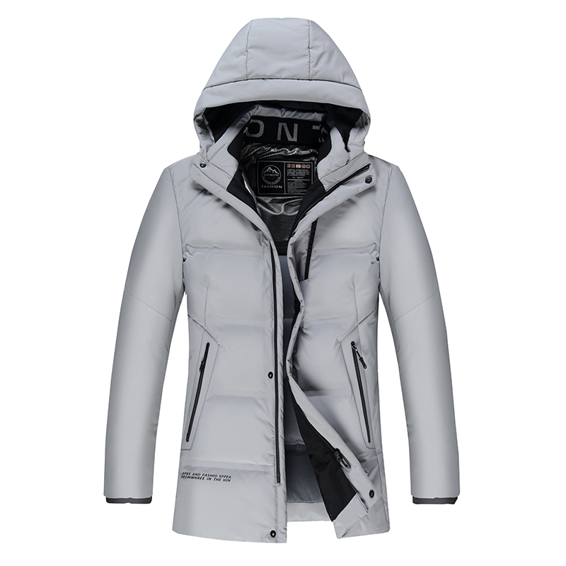 New Winter   Down   Jacket Men's Zipper and Hat Casual Thick Warm Duck feather   Down     coat   men 1958