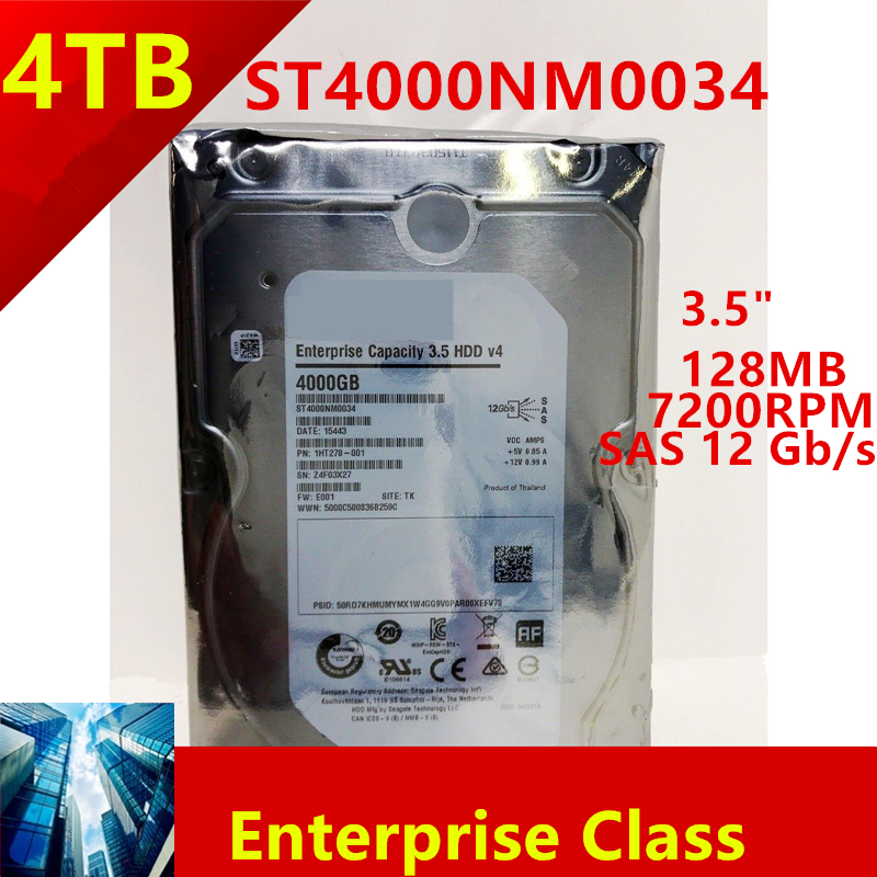 """New HDD For Seagate Brand 4TB 3.5"""" SAS 12 Gb/s 128MB 7200RPM For Internal HDD For Enterprise Class HDD For ST4000NM0034 1"""