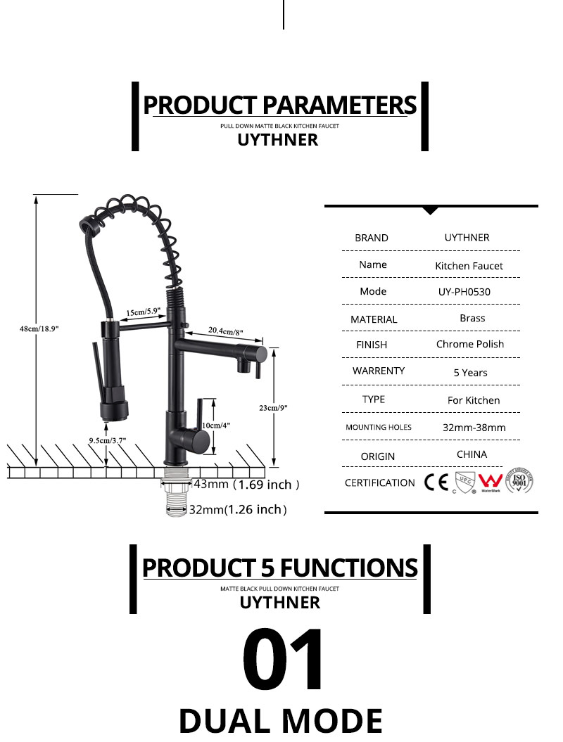 Hd978d73e9d7a4bc3a62d785ea89da223H Uythner Black Brass Kitchen Faucet Vessel Sink Mixer Tap Spring Dual Swivel Spouts Hot and Cold Water Mixer Tap Bathroom Faucets