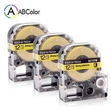 3PK SC12YW Label Tape LC-4YBP Tape Cartridge 12mm For Epson King Jim Label Maker LW-300 LW-400 LW-500 LW-600P Black on Yellow цена 2017
