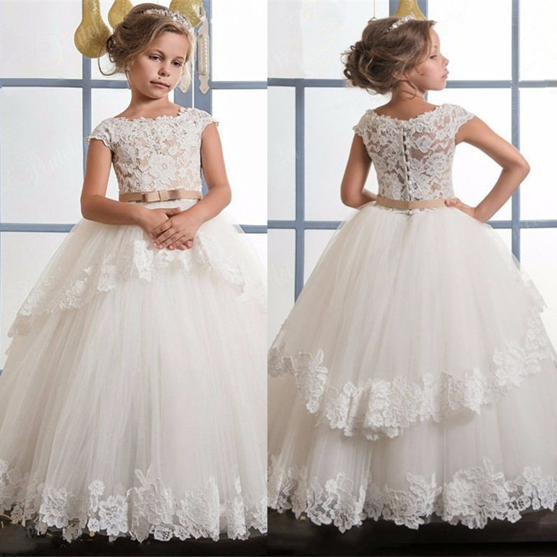 Lace Appliques Flower Girl Dresses For Weddings First Communion Dresses For Girls Champagne O-neck Sleeveless Ball Gown