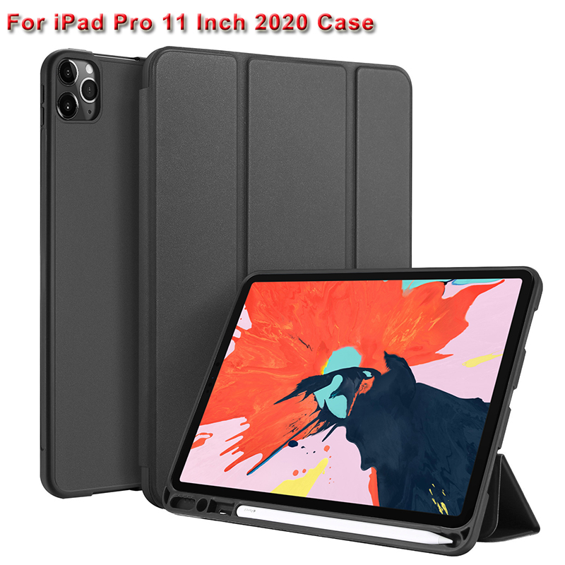 For IPad Pro 11 Inch 2020 PU Tablet Case Shockproof  Flip Stand Cover For IPad Pro 11 Inch 2020 With Sleep Function + Pen Holder