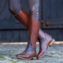 Новинка; женские зимние сапоги на низком каблуке В рыцарском стиле; женские сапоги из искусственной кожи на высоком квадратном каблуке с боковой молнией; женские сапоги; mujer zapatos