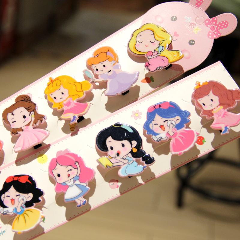 Disney Girl Headdress Cartoon Princess Hairpin Duckbill Clip Cartoon Fresh Princess Hairpin Small Doll Clip Bangs Broken Hairpin