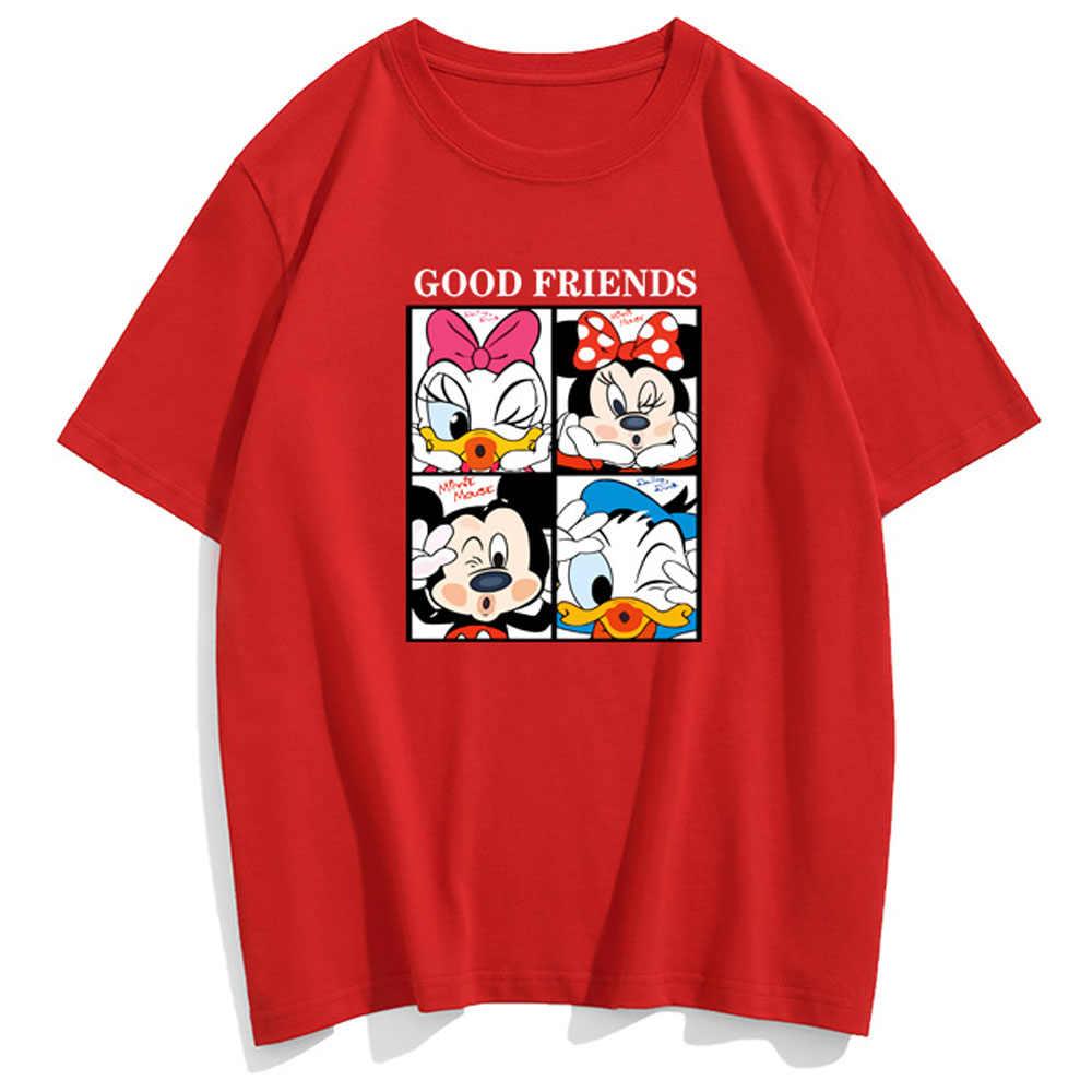 Disney mickey minnie mouse donald daisy pato carta dos desenhos animados casais unissex camiseta feminina algodão manga curta topos 10 cores