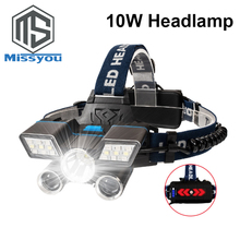 Head Light 9 Modes LED Flashlight L2+ 2*T6 18650 Headlight USB Rechargeable Head Lamp lantern with Tail Warning Light Waterproof