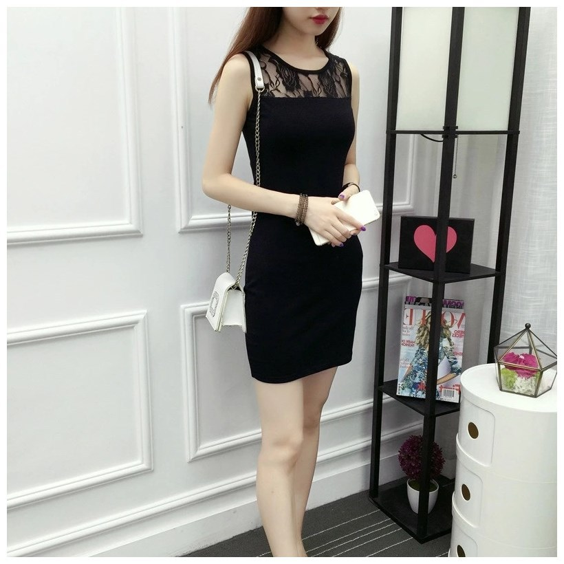 Summer Wear New Style Outer Wear Lace Camisole Vest Skirt Women's Base Slim Fit Sheath Mid-length Large Size Mesh Dress