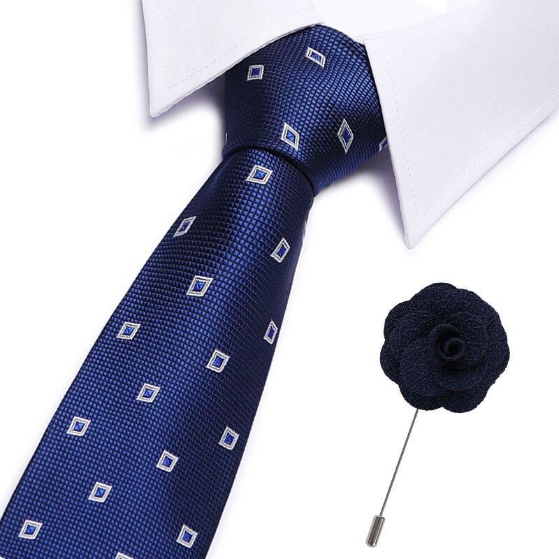 New Fashion 7.5cm Slim Tie Men's 7.5cm Silk Necktie Set Blue Green Purple Yellow Gray Red Wedding Solid Tie Free Brooches