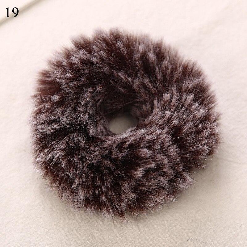 Новые зимние теплые мягкие резинки из кроличьего меха для женщин и девушек, эластичные резинки для волос, плюшевая повязка для волос, резинки, аксессуары для волос - Цвет: 19