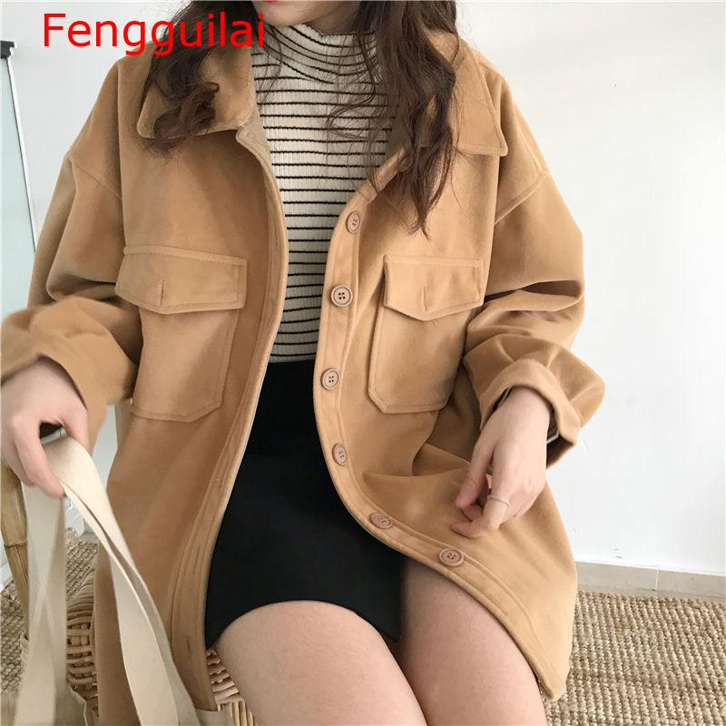 Fengguilai 2020 Sweet Women  Autumn Winter Fashion Solid Wild Loose Preppy Style Casual Slim Pockets Comfortable Outwear Coat