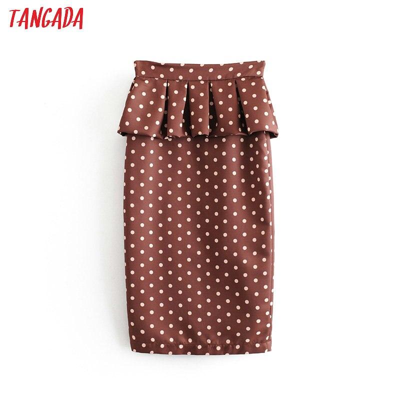 Tangada Women Chic Dot Print Ruffle Pencil Skirt Vintage 2019 Female Office Lady Stylish Elegant Midi Skirts Mujer 6A150