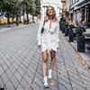 Special interest design kendall mini dress women irregularity pleated vocation style sexy white dress 3