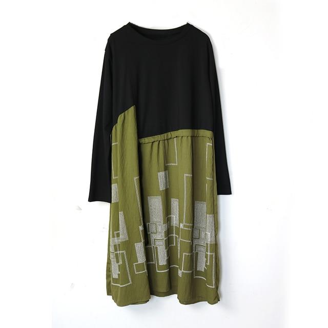 Autumn Plus Size Dress O Neck Drawstring Waist Hugging Patchwork Geometric Printing Loose Loose Dresses for women 4